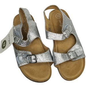 Cat & Jack Toddler Girls Silver Glitter Sandals